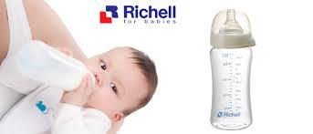 Bình sữa thủy tinh cổ rộng alpha 260ml Richell - RC98145