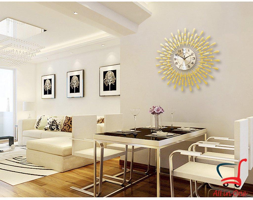 Đồng hồ treo tường nghệ thuật_hình mặt trời_màu vàng