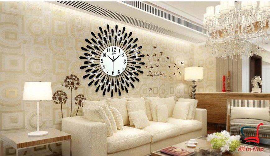 Đồng hồ treo tường nghệ thuật_hình mặt trời_màu đen