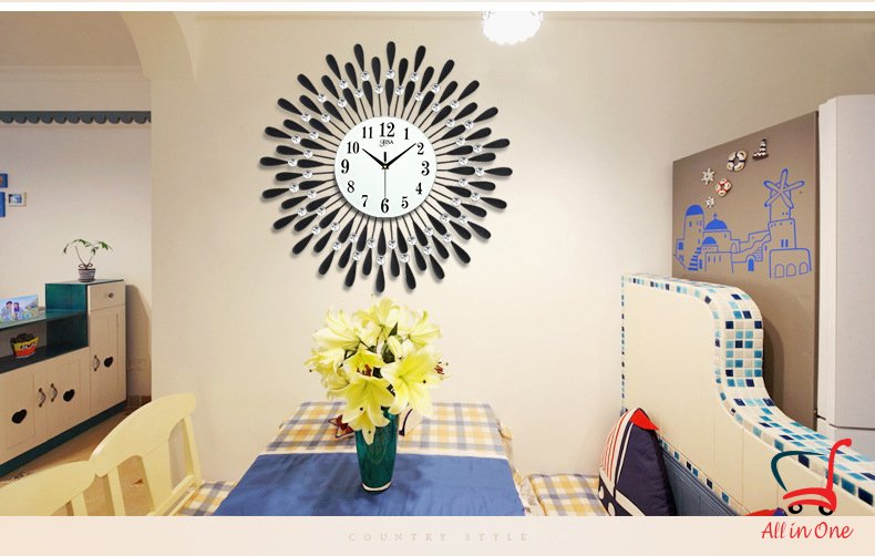 Đồng hồ treo tường nghệ thuật_hình mặt trời_phòng ăn